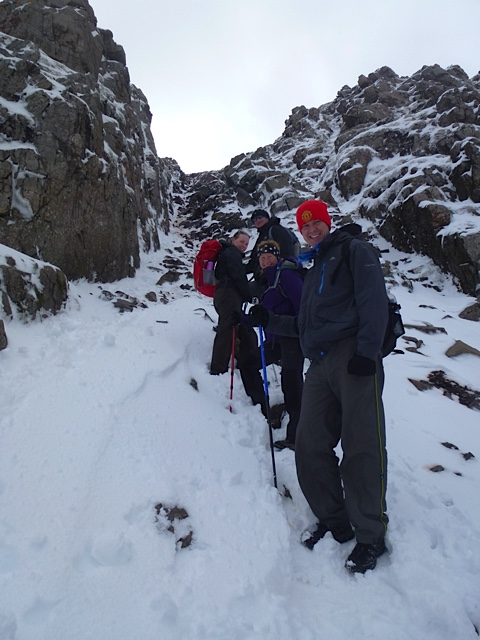 The start of the short gully which is the key to reaching Mickledore